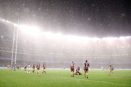 Rain falls during game two of the 2019 State of Origin series at Optus Stadium in Perth, Australia. (Photo by Mark Kolbe/Getty Images)