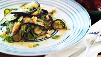 "Recipe: <a href=""http://kitchen.nine.com.au/2016/05/05/15/26/chargrilled-zucchini-with-feta-and-mint"" target=""_top"">Char-grilled zucchini with feta and mint</a>"