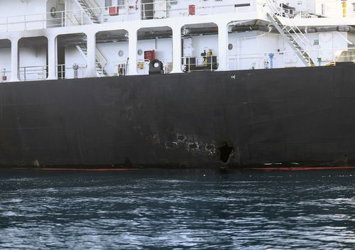 This image released by the US Department of Defence is a view of hull penetration / blast damage on the starboard side of the motor vessel M/T Kokuka Courageous, which the Navy says was sustained from a limpet mine attack while operating in the Gulf of Oman, on June 13th.