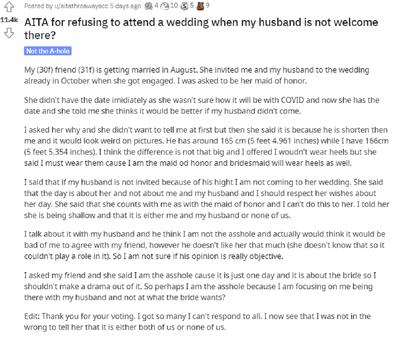 Maid of honour wedding husband height