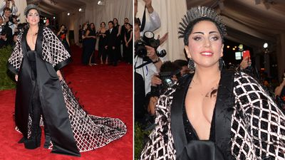 Lady Gaga is no stranger to unique fashion choices, choosing to turn up to the Met Gala in a Balenciaga ensemble, which included a peacock-style headpiece. (AAP)