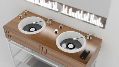 Vinyl-inspired DJ decks disguised as the bathroom sink