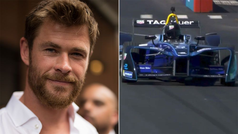 Australian actor Chris Hemsworth spins out in Formula E car in New York