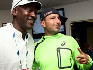 Marinko Matosevic got up close and personal with Michael Jordan at the US Open. (Getty)