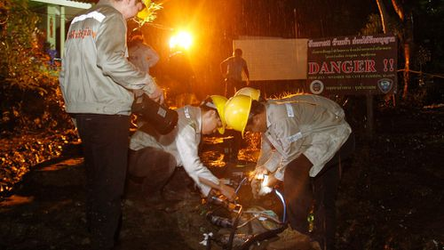 Heavy rain hampered search efforts on Monday. (AAP)
