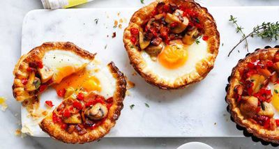 "Recipe: <a href=""http://kitchen.nine.com.au/2017/04/10/17/05/mushroom-and-egg-breakfast-tarts"" target=""_top"">Mushroom and egg breakfast tarts</a>"