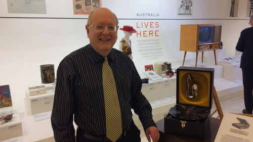 Kevin Poulter with his 1940's portable gramophone.