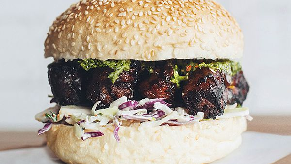 Beef rib burger with chimichurri sauce