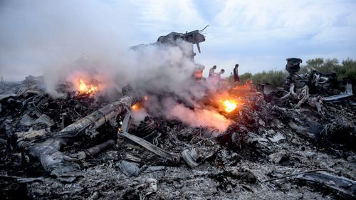 The crash site of MH17 in eastern Ukraine.