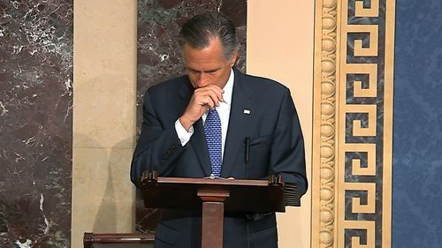 Mitt Romney choked up while announcing his decision to vote to impeach Donald Trump.