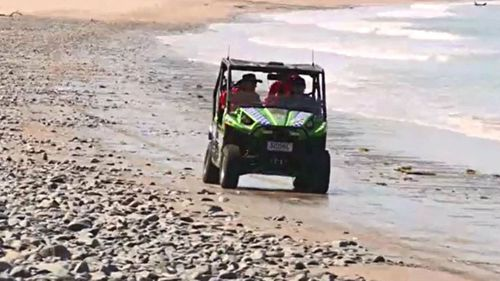 Police and SES workers will extend their search around the isolated beach.