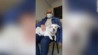Boncuk with her owner Cemal Senturk.
