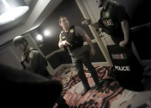 The bodycam shows the first police officers responding to the Las Vegas massacre. (Supplied)