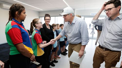Prime Minister Scott Morrison greets Quilpie State College students and staff during his visit to South West Queensland.