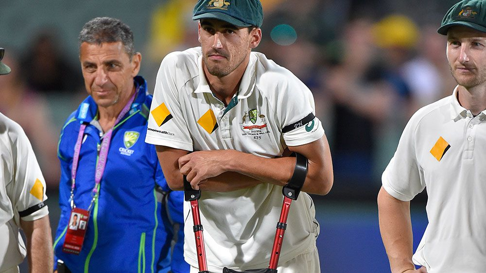 Mitchell Starc was injured in the Adelaide Test. (AAP)