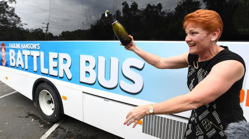 Pauline Hanson christened her 'Battler Bus'. (AAP)