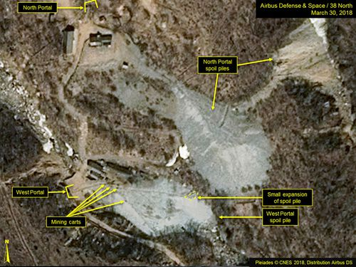 The Punggye-ri nuclear test site in North Korea is set to be exploded in front of a mass of foreign journalists. Picture: AP.