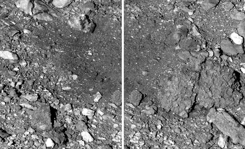 An image before (left) and after the sample was collected.