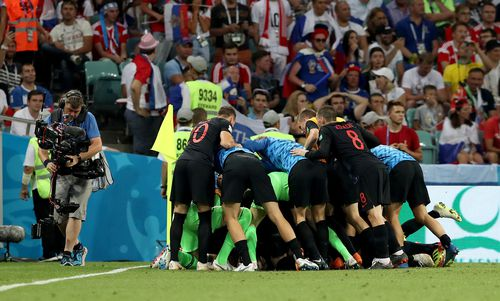 The video came in the hours after Croatia overcame Russia in the 2018 World Cup quarter-final stage, and Vukojevic's accreditation has been revoked. Picture: AAP.