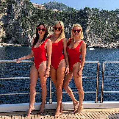 Roxy Jacenko with Jess Ingham and Grace Garrick in Hunza G in Capri Italy