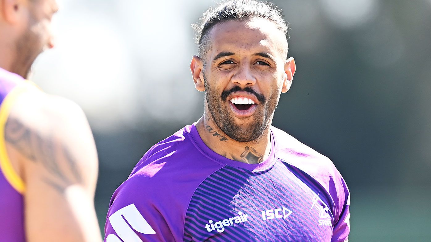 Josh Addo-Carr is seen during a Melbourne Storm training session