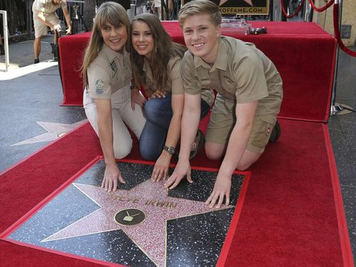 The Irwins with Steve's star on the Hollywood Walk of Fame.