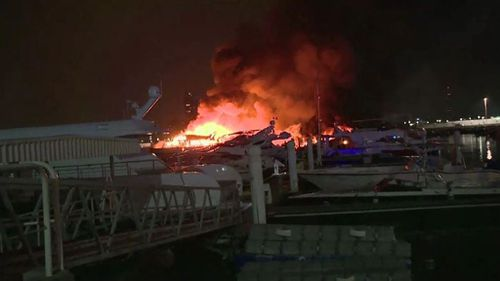 The fire completely destroyed eight expensive boats. (Supplied/ AP)