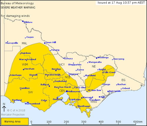 A severe weather warning for damaging winds is currently in place for all Victorian districts.
