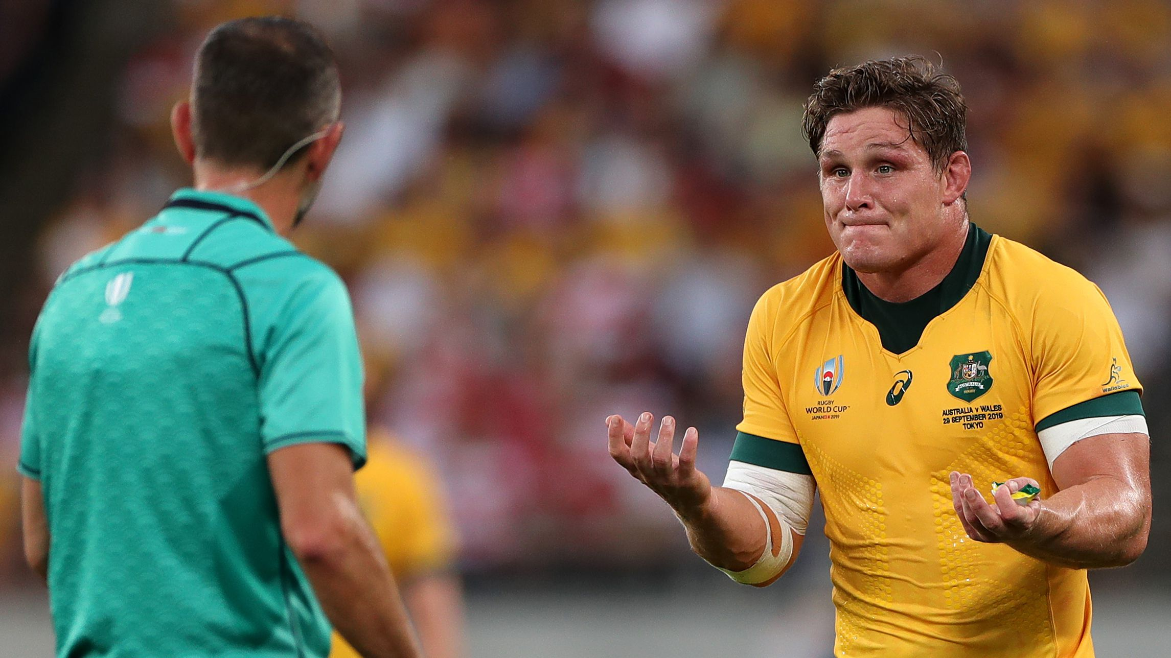 Michael Hooper pleads with the referee in the Wallabies' loss to Wales.