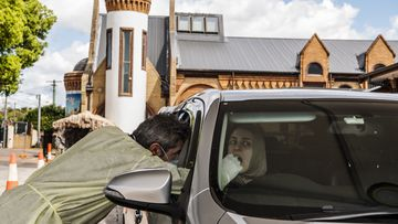 St Paul Church Drive through COVID-19 testing clinic, Guildford, Sydney.