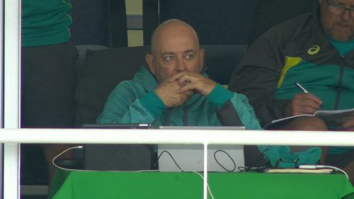 Was Darren Lehmann suddenly transported to a Seinfeld episode. Picture: 9NEWS