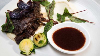"Recipe: <a href=""https://kitchen.nine.com.au/2017/11/24/17/36/family-food-fight-the-butlers-twice-cooked-beef-cheek"" target=""_top"">The Butler's Twice cooked Beef Cheek on celeriac puree with slow roasted onions and grilled sprouts</a>"