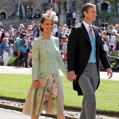 Pippa attends Prince Harry and Meghan Markle's royal wedding, May 2018.