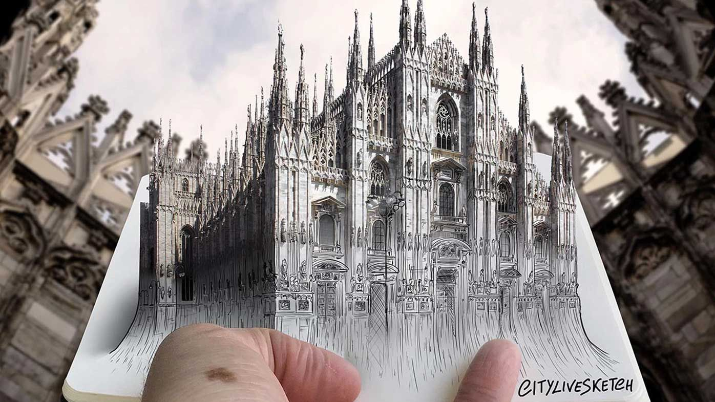 Sketch artist combines drawings with landmarks