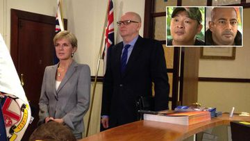 Foreign Minister Julie Bishop meets with Australian Ambassador to Indonesia Paul Grigson, after he was recalled in the wake of the Bali Nine executions. (9NEWS)