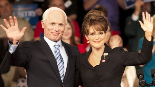 Ed Harris and Julianne Moore play John McCain and Sarah Palin in the film 'Game Change'.