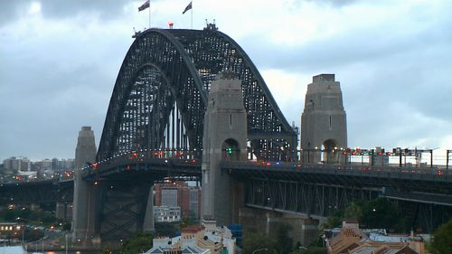 The five-hour standoff caused traffic gridlock on the Sydney Harbour Bridge and across Sydney. (9NEWS)