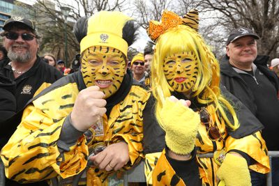 Fans show their true colours during the AFL Grand Final parade