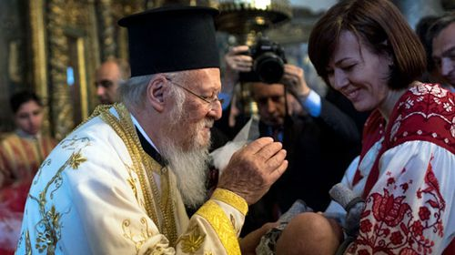 Archbishop of Constantinople Bartholomew I, a spiritual leader of the Orthodox Christian around the world, attends the easter ceremony at St George Church in Istanbul. (AP).