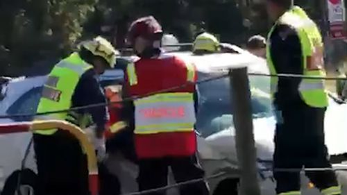 Some of the drivers were trapped in their cars after the crash.