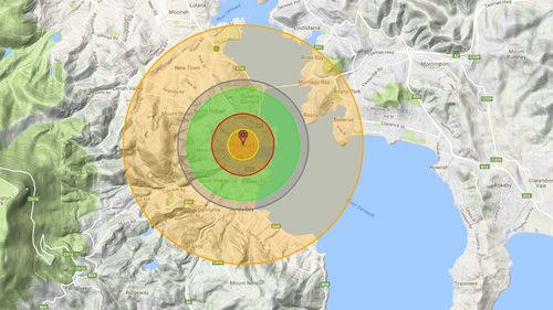 An estimation of the impact of a nuclear bomb dropped on Hobart. (Nukemap)