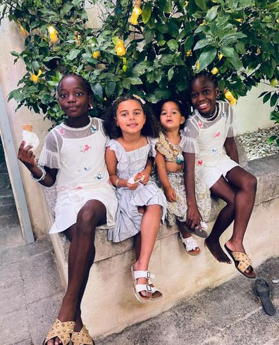 Madonna's daughters Estere and Stelle Ciccone during her 63rd birthday celebrations in Italy.