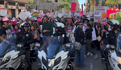 Thousands turned out for the LA Women's March, one of dozens around the world.