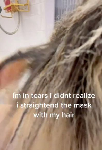 Woman left in tears after melting face mask into her hair