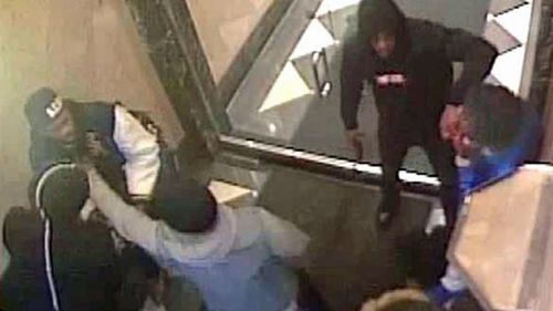 A still from CCTV footage released by federal prosecutors to document alleged involvement by rapper Tekashi 6ix9ine in several violent incidents.