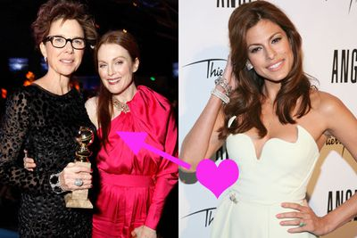 "It's more of an admiration than lust, but still… Eva Mendes is totally in awe of Annette Bening and Julianna Moore. She told <i>Marie Claire</i>, ""I have a girl crush on them. I'd kill to have half the careers they've had after 40."""