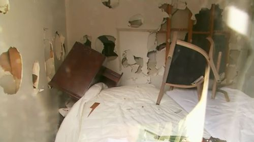 """Damage to an Airbnb property in Werribee which featured graffiti tags reading """"MTS"""" and """"Apex"""" before Christmas. (9NEWS)"""