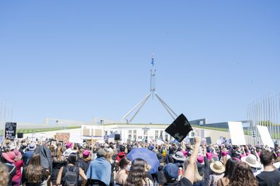 The Women's March 4 Justice movement is calling for a change in Federal Parliament, demanding politicians shine a light on allegations of sexual assault and harassment in the workplace. (Photo by Jamila Toderas/Getty Images)