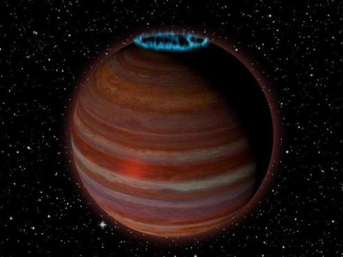 A new planet with a large aurora has been discovered drifting alone through space. Picture: Supplied