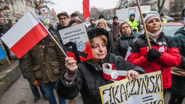 Committee for the Defence of Democracy (KOD) protest, outside the Law and Justice (PiS) ruling party offices in Gdansk, Poland on 17 December 2016. (AFP)